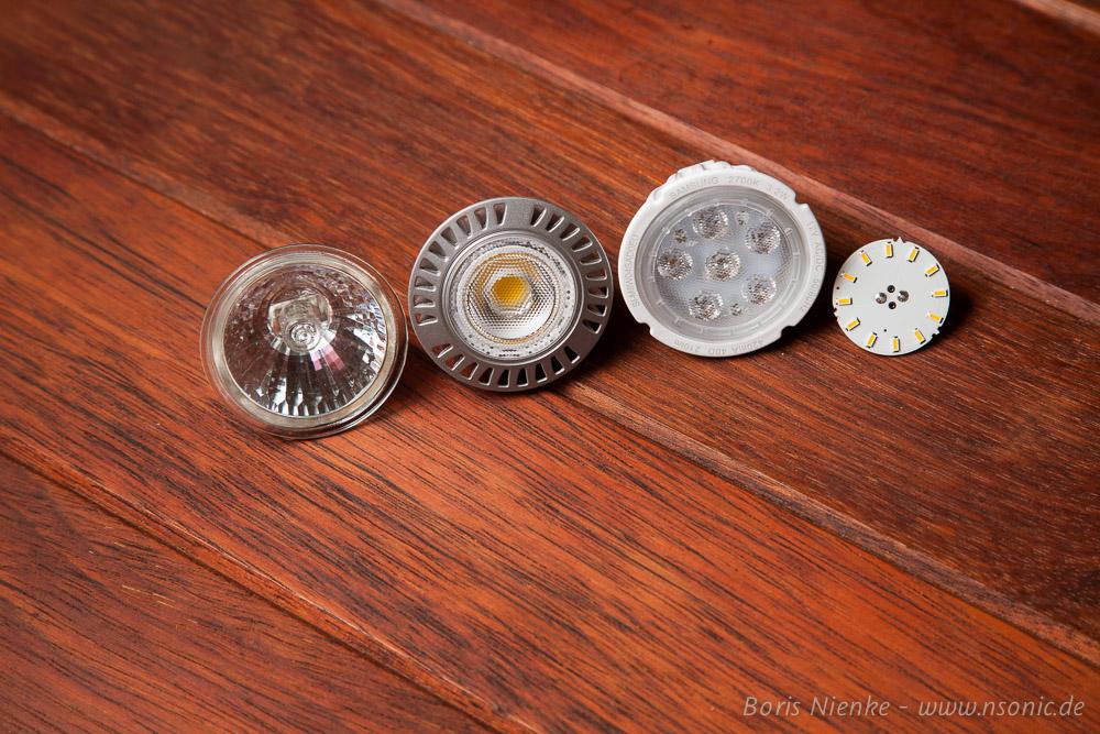 von Links: Halogen-Spot, LG, Samsung, Lumitronix