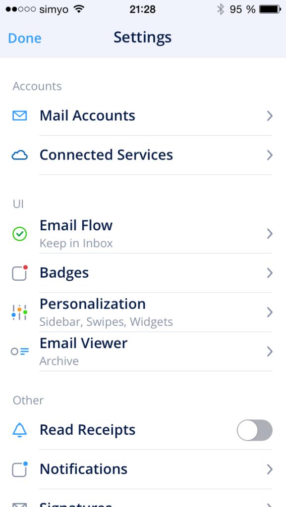 Spark Optionen - E-Mail-Client für iOS von Readdle