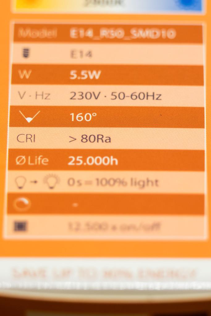 Sebson LED – Daten vom Karton