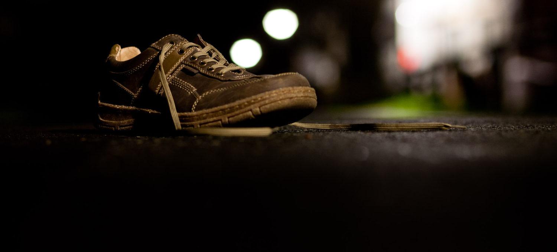 Schuh im Abendlicht